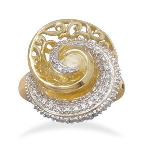 Two Tone Plated Brass Swirl Fashion Ring / Size 7