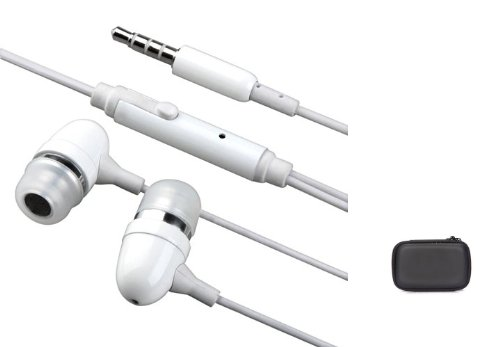 White Metal Bullet Sound Isolating Earphones Hands-Free Wired Headset Dual Earbuds For Ipod Touch 1St,2Nd 3Rd, 4Th, 5Th Gen - Ipod Nano 1G, 2G, 3G, 4G, 5G, 6G (6Th) Generations - Includes A Accessory Hard Case