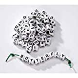 Package of 240 White Cube Jewelry Beads with Black Alphabet Letter