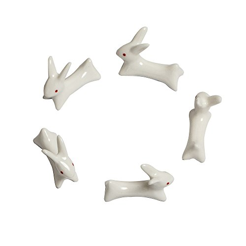Fonder Mols 5pcs Ceramic Rabbit Chopstick Rest Spoon Fork Knife Holder Color White