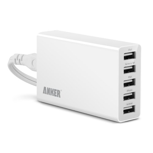 Anker 25W 5-Port Family-Sized Desktop USB Charger Technology for iPhone 5s 5c 5; iPad Air mini; Galaxy S5 S4; Note 3 2; Tab; Nexus and More