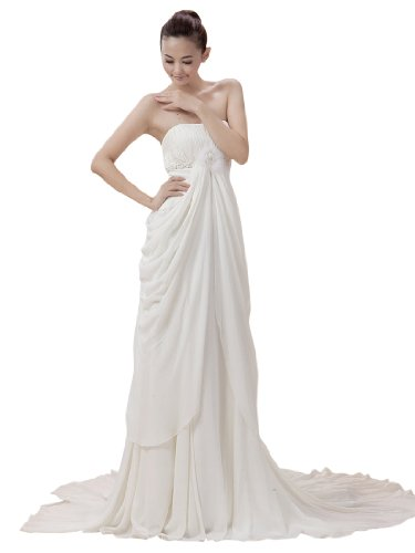Topwedding Strapless Empire Chiffon Wedding Dress with Draping