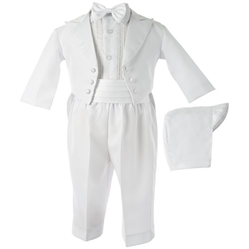 Lauren Madison baby boy  Christening Baptism Tuxedo with Matching Hat, White, 0-3 Months
