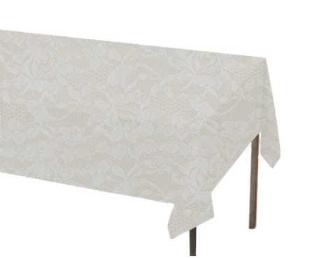 White Lace Rectangle Plastic Table Cover