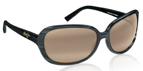 Maui Jim Women's Rainbow Falls H225-02 Polarized Oval Sunglasses,Black / White Swirl / HCL Bronze Lens,One Size