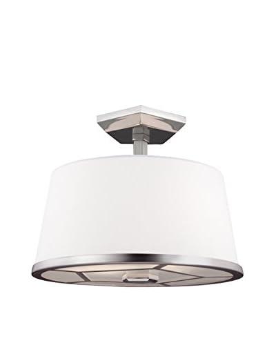 Feiss 2-Light Semi-Flush, Satin Nickel/Polished Nickel
