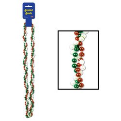 Braided Beads (red, white, green) Party Accessory  (1 count) (1/Card)