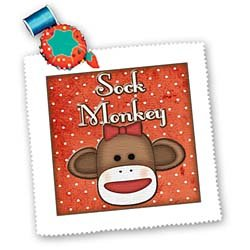Dooni Designs Monogram Initial Designs - Cute Sock Monkey Girl With Text - Quilt Squares
