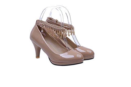 tondo testa con chunky tacchi scarpe da donna in primavera/Alto tacco fibbia scarpe asakuchi parola-D Lunghezza piede=24.3CM(9.6Inch)