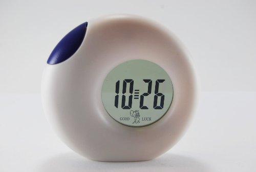 Small Round LCD Digital Desk Clock - Blue