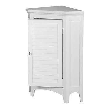 Elegant Home Fashions Slone 1-Door Corner Floor Cabinet in White
