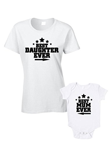 Best Daughter Ever Best Mum Ever T-Shirts Or Baby Grow - Matching Mother Daughter Child Gift Set - Mother'S Day Present Daughter Baby Shower front-841722