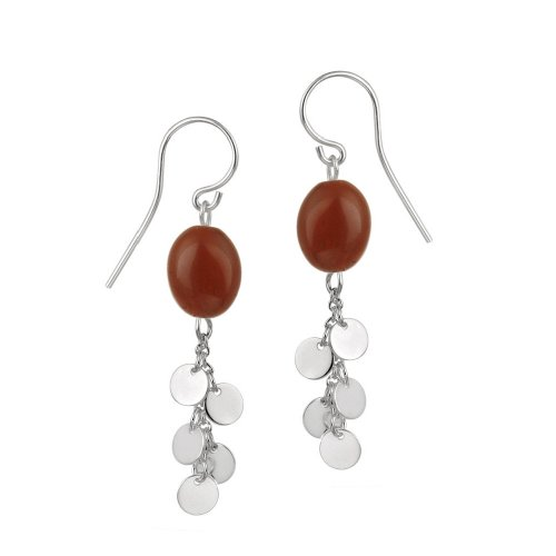 Sterling Silver French Wire Earrings with Red Jasper Bead and Silver Disc Drops