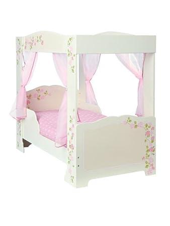 Mädchen-Bett mit 4 Bettpfosten und Luxus-Schaummatratze, Rosa