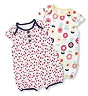 2 Pack Pure Cotton Ditsy Floral All-in-Ones