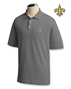New Orleans Saints Mens Ace 100% Cotton Polo Grey Heather by Cutter & Buck