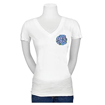 Santa Cruz Women's Hibiscus Dot Fitted V-Neck T-Shirt Small White