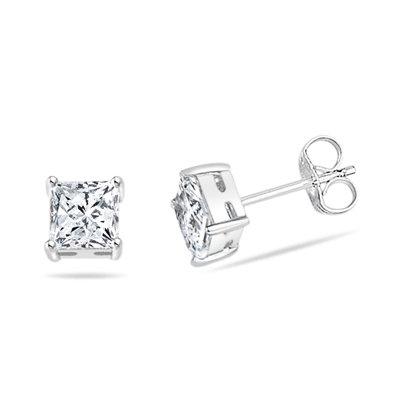 Cubic Zirconia Mens Bling Square Stud Earrings