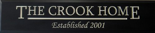 """Decorative Wood Sign Plaque Wall Decor Personalized with Family Name, Home and Date Established Carved and Painted 24""""x5.5"""" Black/Antique White"""