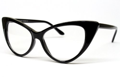 Super Cat Eye Glasses Vintage Inspired Mod Fashion Clear Lens Eyewear (Black) 1