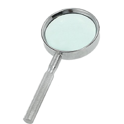 uxcell® Silver Tone Nonslip Grip 4X Metal Magnifier Magnifying Glass - 1