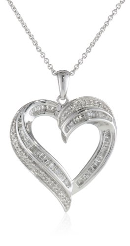 Sterling Silver Diamond Heart Pendant Necklace (1/2Cttw), 18""