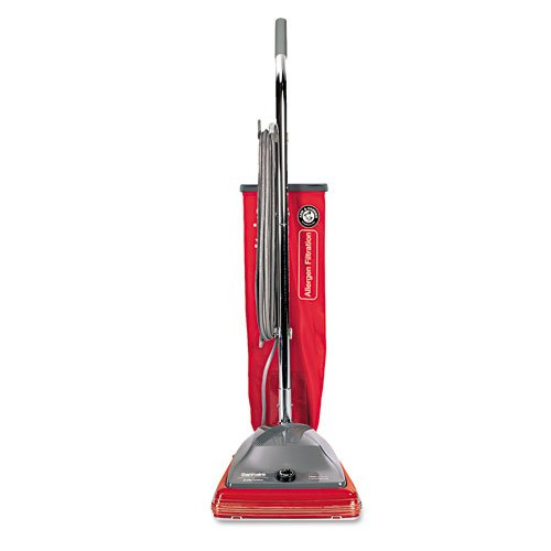 Electrolux Sanitaire Products - Electrolux Sanitaire - Commercial Standard Upright Vacuum, 19.8 lbs, Red/Gray - Sold As 1 Each - Ideal for commercial use--offices, hotels, schools, restaurants and health care facilities. - Continuous deep cleaning for heavy-duty jobs. - Disposable dust bag cleaning system. - Ball-bearing steel brush roll. - 7-amp motor.