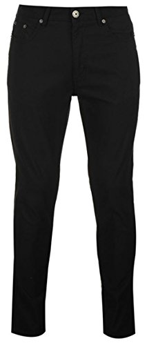 Da uomo in cotone Chinos Bedford Cord pantaloni Black 32W/Regular