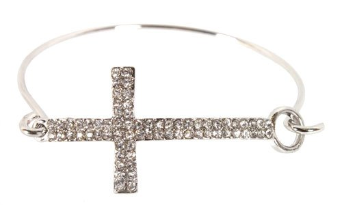 Silver Iced Out Cross Bracelet