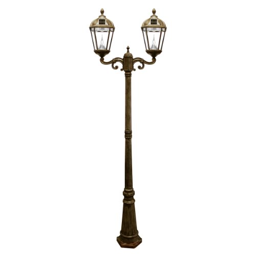 gama sonic royal solar lamp post and double lamp led light fixture 89. Black Bedroom Furniture Sets. Home Design Ideas