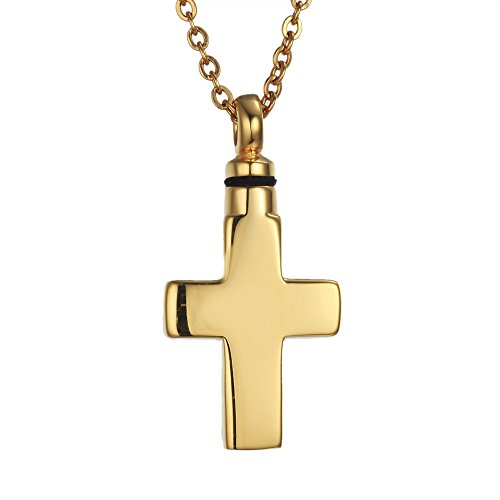 HooAMI Cremation Jewelry Cross Pendant Keepsake Memorial Urn Necklace Stainless Steel Gold (Cross Urn compare prices)