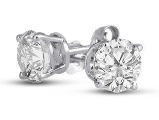 1/2Ct Tw Round Diamond Stud Earrings In 14K White Gold, Jk I2-3