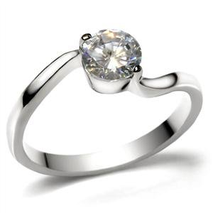 ENGAGEMENT RING - Stainless Steel Round Cut CZ Engagement Ring