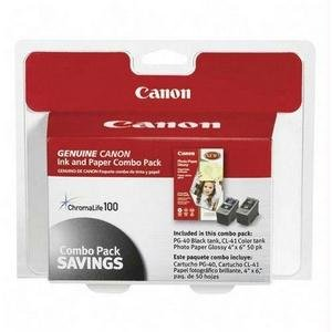 Canon PG-40/ CL-41, 0615B009 (PG40, CL41) Black, Color OEM Genuine Inkjet/Ink Cartridge with Photo Paper - Retail