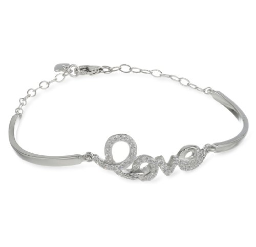 Sterling Silver Simulated Diamond Charm Bracelet,