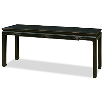 ChinaFurnitureOnline Elmwood Console Table, 72 Inches Chinese Key Design Table Black Lacquer Finish