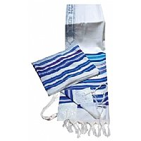 100% Wool Multi Blue Colors Striped Bnei Or Tallit and Tallit Bag Set 47