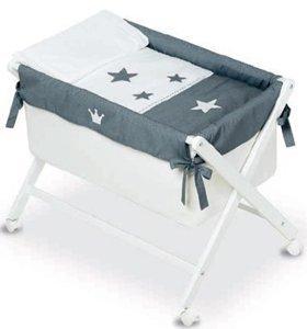 Bimbi 28140920–Minicuna, motivo corona, 68x 90x 71cm, colore: bianco/grigio