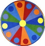 Joy Carpets Kid Essentials Early Childhood Round Color Wheel Rug, Multicolored, 7'7""