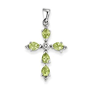 Genuine IceCarats Designer Jewelry Gift Sterling Silver Rhodium Pear Peridot Cross Pendant In Sterling Silver