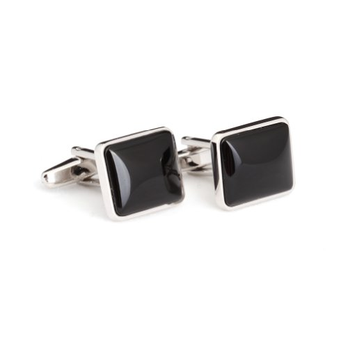 Digabi Men's Jewelry Silver Plated Black Agate