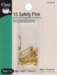 Dritz Safety Pins Size 00 14/Pkg 72-35-00; 6 Items/Order
