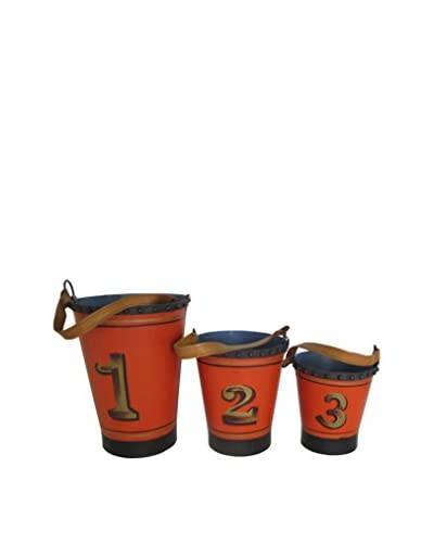 Blue Ocean Iron and Leather Fire Buckets, Red/Brown