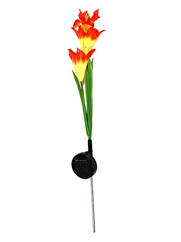 Solar lily flower garden stake color change lights outdoor garden yard landscape lights orange for Solar garden stakes color changing