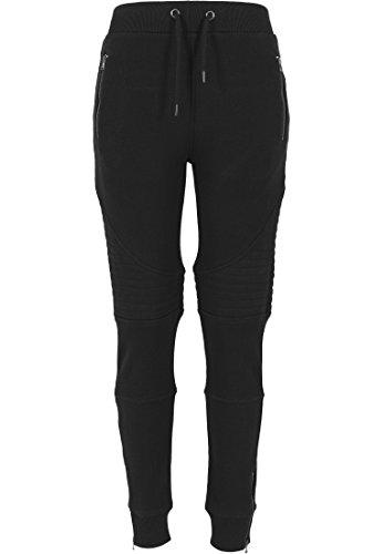 Urban Classics - Kapuzenpulli Melange Biker Sweatpants, Felpa Donna, Nero (Schwarz), Large (Taglia Produttore: Large)