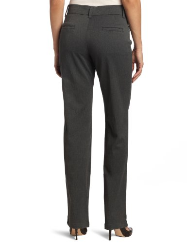 Lee Women's Relaxed Fit Plain Front Straight Leg Pant, Charcoal Heather, 4 Short