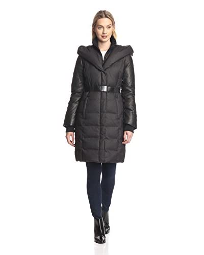 Soia & Kyo Women's Belted Down Coat with Leather Sleeves