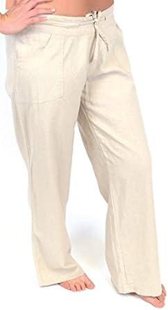 Tom Franks Ladies Linen Blend Full Length Trousers Stone 10