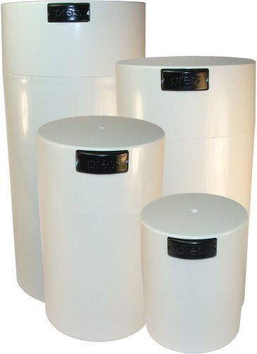 Tightvac Nested Set Of 4 Vacuum Sealed Dry Goods Storage Containers, 4 Sizes: 24-Ounce, 12-Ounce, 6-Ounce, 3-Ounce, White Cap/White Body