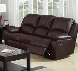 Caray Bonded Leather Sofa w/ 2 Recliners in Black by Acme Furniture